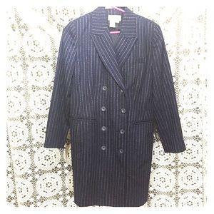 Vintage Suit dress D/B pin strips wool  10 P